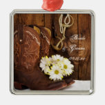 Cowboy Boots, Daisies Horse Bit Country Wedding Metal Ornament