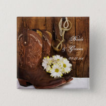 Cowboy Boots, Daisies Horse Bit Country Wedding Pinback Button