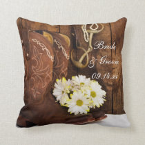 Cowboy Boots, Daisies Horse Bit Country Wedding Throw Pillow