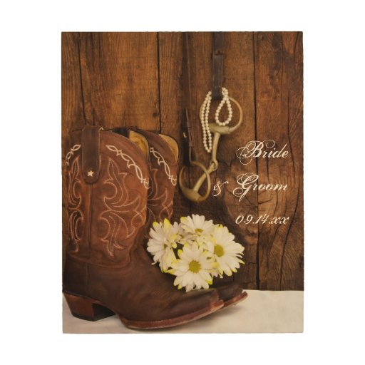 Country Wood Wall Decor : Cowboy boots daisies horse bit country wedding wood wall