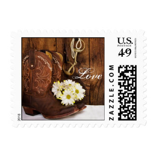 Cowboy Boots, Daisies Horse Bit Love Wedding Postage Stamps