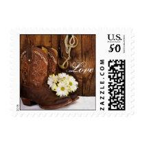 Cowboy Boots, Daisies Horse Bit Wedding Love Postage