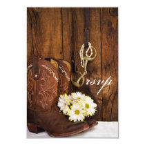 Cowboy Boots, Daisies, Horse Bit Wedding RSVP Card