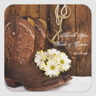 Cowboy Boots, Daisies Horse Bit Wedding Thank You Square Sticker