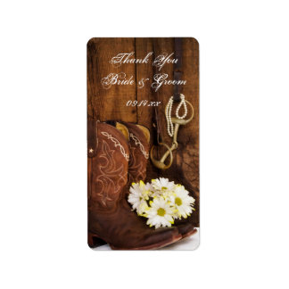Cowboy Boots Daisies Horse Thank You Favor Tags