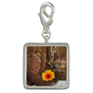 Cowboy Boots, Daisy and Horse Bit Country Wedding Charm