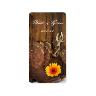 Cowboy Boots, Daisy and Horse Bit Country Wedding Label
