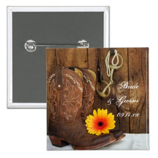 Cowboy Boots, Daisy and Horse Bit Country Wedding Pinback Button