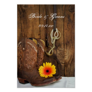 Cowboy Boots, Daisy and Horse Bit Country Wedding Poster