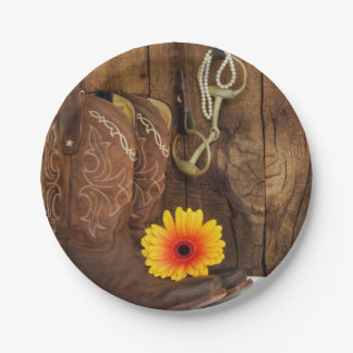 Cowboy Boots, Daisy and Horse Bit Western Paper Plate