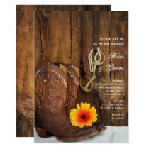 Cowboy Boots, Daisy and Horse Bit Western Wedding Card