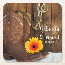 Cowboy Boots, Daisy and Horse Bit Western Wedding Square Paper Coaster