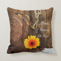 Cowboy Boots, Daisy and Horse Bit Western Wedding Throw Pillow
