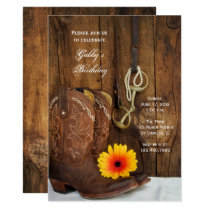 Cowboy Boots Daisy Country Western Birthday Party Invitation