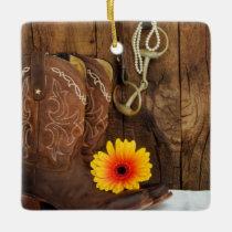 Cowboy Boots, Daisy Horse Bit Country Wedding Ceramic Ornament