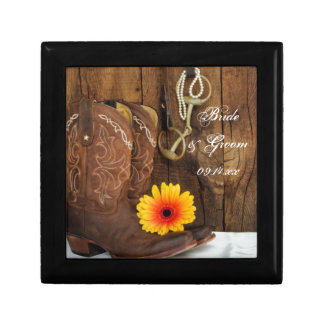 Cowboy Boots, Daisy Horse Bit Country Wedding Keepsake Box