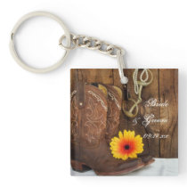Cowboy Boots, Daisy Horse Bit Country Wedding Keychain