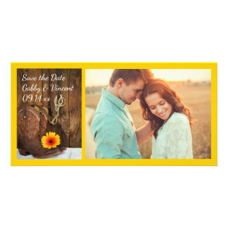 Cowboy Boots Daisy Horse Bit Wedding Save the Date Card