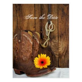 Cowboy Boots Daisy Horse Bit Wedding Save the Date Postcard