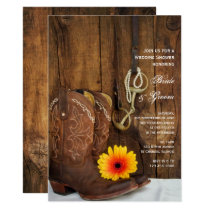 Cowboy Boots Daisy Horse Bit Wedding Shower Invite