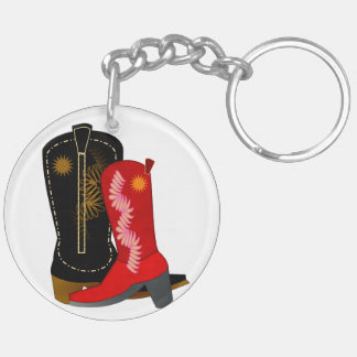 Cowboy Boots Double-Sided Round Acrylic Keychain