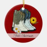 Cowboy Boots, First Christmas Custom Ornament
