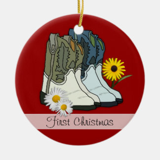 Cowboy Boots, First Christmas Custom Ornament