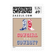 Cowboy Boots Gender Reveal Party Postage Stamps
