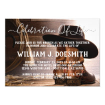 Cowboy Boots Hat Funeral Memorial Service Invitation