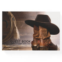 Cowboy Boots Hat Mans Birthday Party Guest Book