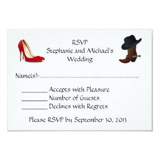 Cowboy Boots High Heels Shoes Wedding  RSVP Card
