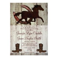 Cowboy Boots Horse Horseshoe Wedding Invitations