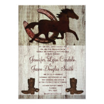 Cowboy Boots Horse Horseshoe Wedding Invitations