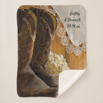 Cowboy Boots Lace Country Barn Wedding Keepsake Sherpa Blanket
