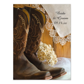 Cowboy Boots Lace Country Wedding Save the Date Magnetic Invitations