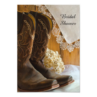 Cowboy Boots Lace Country Western Bridal Shower 5x7 Paper Invitation Card