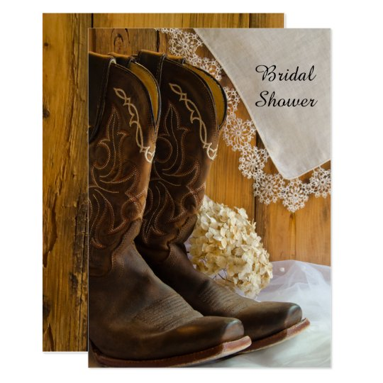 cowboy boots lace country western bridal shower invitation