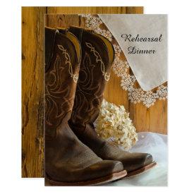 Cowboy Boots Lace Western Wedding Rehearsal Dinner Card