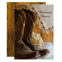 Cowboy Boots Lace Western Wedding Rehearsal Dinner Invitation