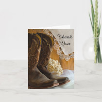 Cowboy Boots Lace Western Wedding Thank You