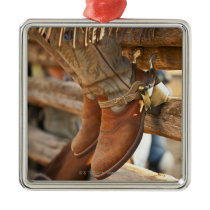 Cowboy boots on fence 2 metal ornament