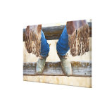 Cowboy boots on fence canvas prints