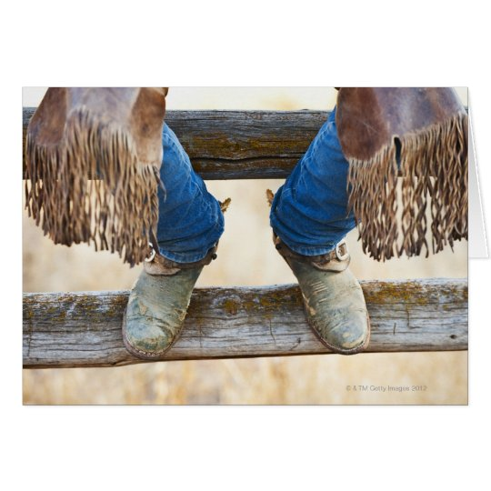 Cowboy boots on fence card