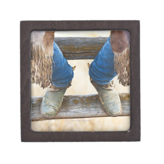 Cowboy boots on fence jewelry box
