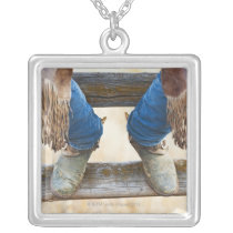 Cowboy boots on fence silver plated necklace