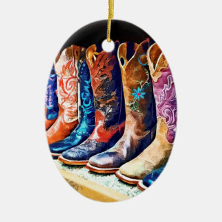 Cowboy Boots Double-Sided Oval Ceramic Christmas Ornament