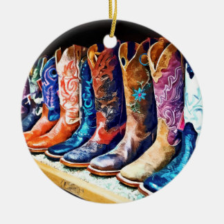Cowboy Boots Double-Sided Ceramic Round Christmas Ornament