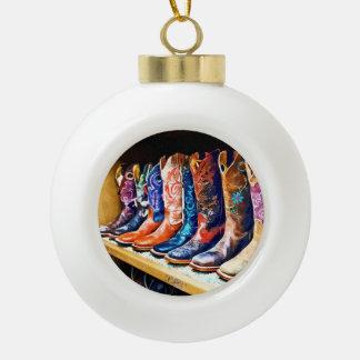 Cowboy Boots Ceramic Ball Christmas Ornament