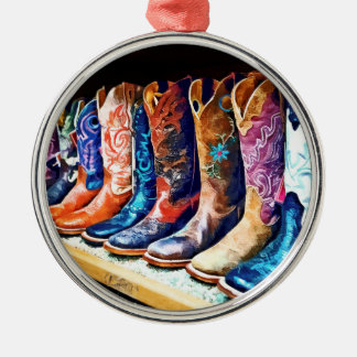 Cowboy Boots Round Metal Christmas Ornament