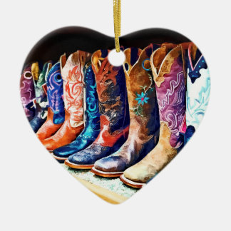 Cowboy Boots Double-Sided Heart Ceramic Christmas Ornament